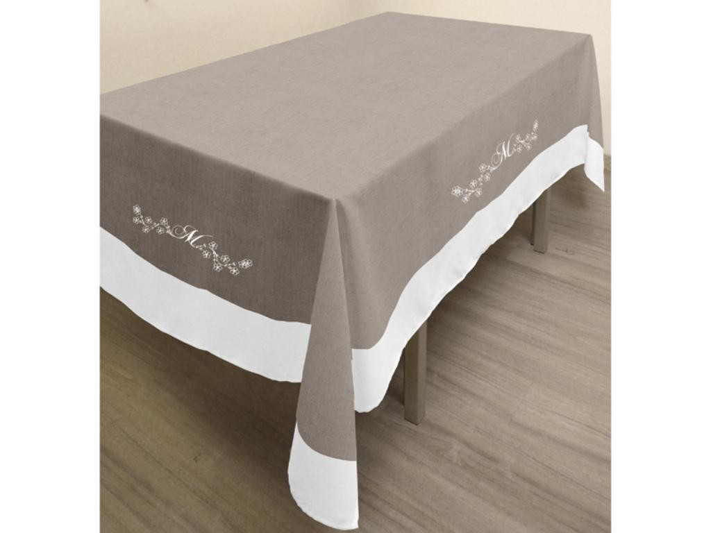 nappe taupe rectangulaire table de cuisine. Black Bedroom Furniture Sets. Home Design Ideas